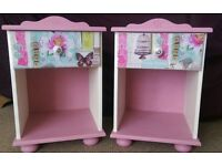2 upcycled bedside cabinets with shabby chic chalk paint butterfly pink design, solid pine wood