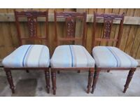 Three late Victorian / Edwardian dining chairs c1890-1910