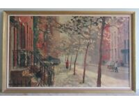 Framed painting/picture – 1960s New York cityscape lithograph print
