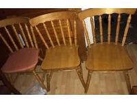 Set of 4 pine cottage style chairs