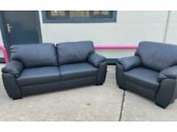 Black Milano Real Leather sofa & Armchair