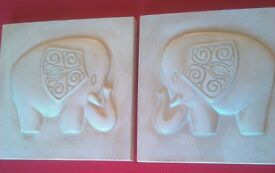 Set of two new Wall Plaques in a contemporary Ethnic Elephant design