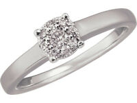 sterling silver 925 0.15ct diamond ring size p