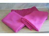 A Pair Of Pink Fuschia Voile Curtains 148cm x 238cm and a DUNELM Fuschia Door Curtain 162cm x 212cm