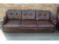 Retro Leather Settee. 70's ?