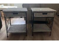 2 Wicker bedside tables