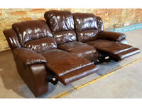 3 Seater Genuine Leather Manual Recliner Sofa - Chocolate.