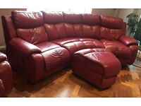 Red Leather Curved 4 seat electric recliner Dfs