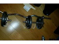 Spin Lock EZ Curl Bar Curling Barbell and Dumbbells 2 x 15 kg