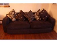 DFS Large Brown 3-Seater Sofa Settee With Feather Filled Back Cushions