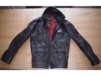 Superdry SuperBrad Mens Leather Jacket XL Brown
