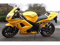 2005 Yellow Triumph Daytona 650 with many extras