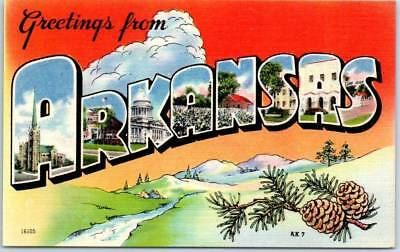 ARKANSAS Large Letter Postcard Colorful Asheville Linen PC Linen c1940s Unused