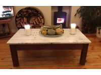 Vintage, rustic,painted, shabby chic, wooden, pine coffee table. Scandi style. £45 ono.