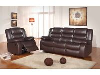 Romas Brown BRAND NEW Leather Recliner Sofa Set