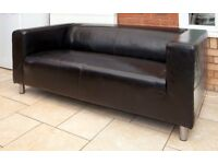 Black Leather Two Seater Sofa - Hardly Used. Free Local Delivery.