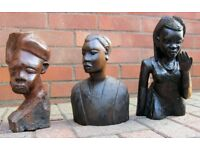 3 African Carved Head/Figures