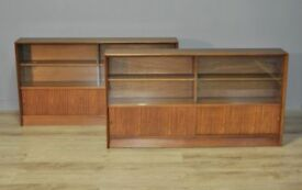 Pair Of Retro Herbert Gibbs Long Low Teak Glass Sliding Door Bookcase Cabinets