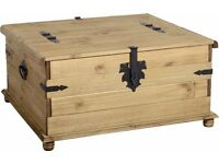 New Solid Cheap Corona Mexican Pine DOUBLE Trunk storage coffee table £135 IN STOCK NOW