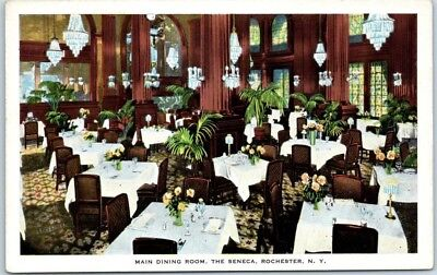 Rochester, New York Postcard THE SENECA HOTEL Main Dining Room c1920s Unused