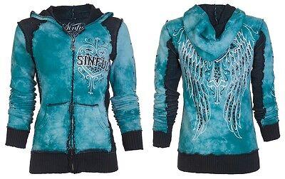 SINFUL by AFFLICTION Womens Hoodie Sweatshirt ZIP UP Jacket BLITZKRIEG Wings -