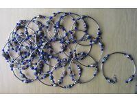 22 x BLUE CLOISONNE BEAD BRACELETS - NEW