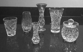 Selection of 6 pieces of lead cut crystal glass vases and jam pot All perfect cond..to be collected