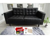 RRP: £599 IKEA LANDSKRONA BLACK TWO SEATER LEATHER SOFA LONDON DELIVERY (OFFICE DFS CHESTERFIELD)