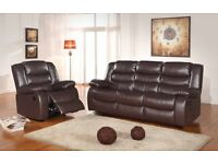 Brown Romas BRAND NEW Leather Recliner Sofa Set