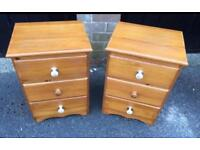 Pair pine bedsides (delivery available)