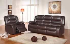 **SALE**ROMAS BROWN LEATHER RECLINER SOFAS FREE DELIVERY**