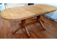 Solid pine farmhouse extending dining table