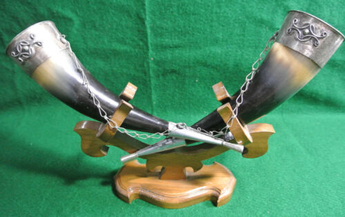 Georgian Wine Drinking Horns Pair with Stand