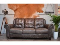 Vintage Leather 3 Seater Sofa Couch Grey