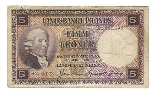Iceland - 1928, Five (5) Kronur
