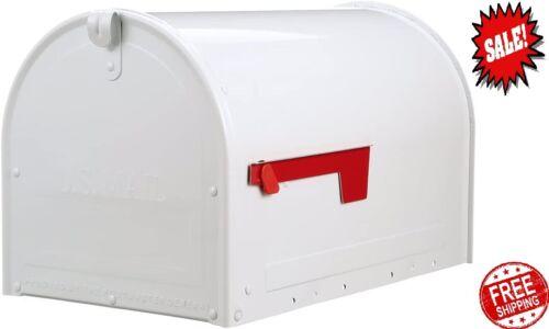 Gibraltar Mailboxes Marshall Large, Locking, Steel, Post-Mount Mailbox, White, M