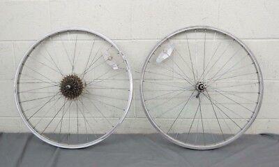 "Vintage 1980s 6-Speed 36-Spoke 26"" Mtn Bike Wheelset Weinmann Rims Exage Hubs"