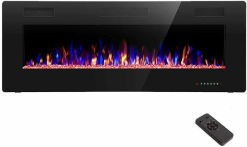 R.W.FLAME Electric Fireplace 60 inch Recessed and Wall Mounted,Thinnest