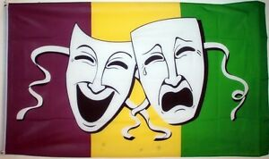 COMEDY-TRAGEDY-FLAG-Sock-and-Buskin-THEATRE-PLAY-ACTOR-ACTRESS-FREE-POSTAGE-UK
