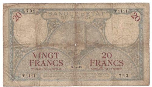 Morocco - 2.12.1931 20 Francs Banknote (P-18a) - Scarce!
