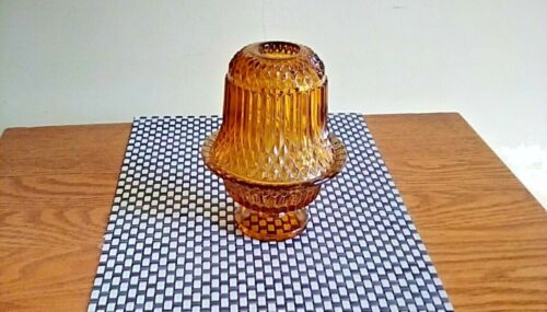 INDIANA GLASS AMBER DIAMOND POINT FAIRY LAMP/CANDLE HOLDER.