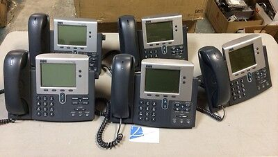 Lot Of 5 Cisco Cp-7940g 7940g Voip Poe Ip Business Phone W Handsets