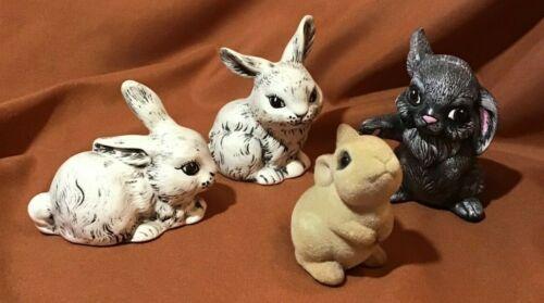 3 Rabbit Pottery Figurines & 1 Josef Originals Flocked Easter