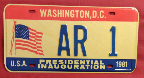 1981 DISTRICT OF COLUMBIA AR-1 ARKANSAS INAUGURAL LICENSE PLATE