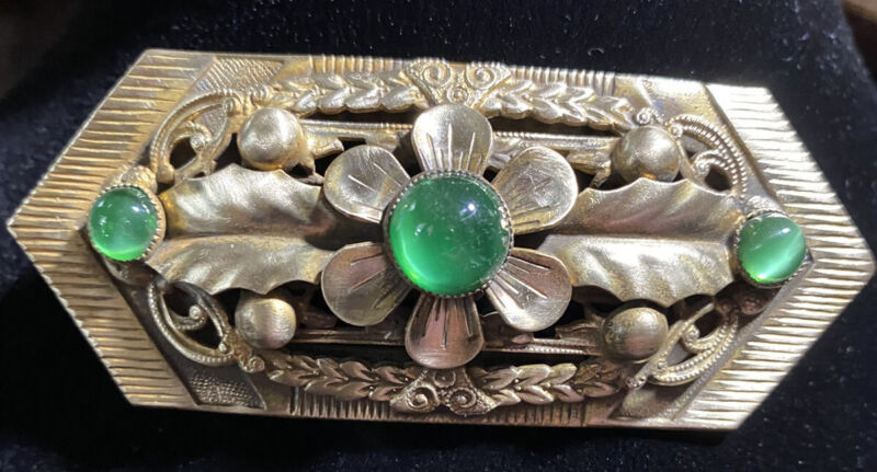 Vintage XL Art Deco Ornate Brass & Green Opalite? Stone Brooch