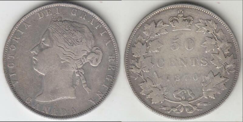 1870 LCW CANADA VICTORIA FIFTY CENTS VF