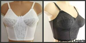 Midi-Long-Line-Bra-BLACK-or-WHITE-Retro-Vintage-Style-Non-Underwired-Lace-Panel