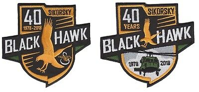 Used, Sikorsky UH-60 Blackhawk Helicopter 40 Year Army Military Aviation 2 Patch Combo for sale  USA