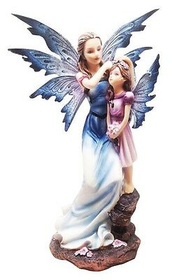 MOTHERHOOD FAIRY WITH PRETTY GIRL SCULPTURE STATUE FIGURINE FAIRYLAND LEGENDS