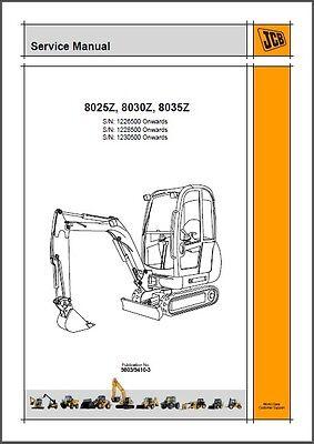 Jcb 8025z 8030z 8035z Mini Excavator Service Repair Workshop Manual Cd